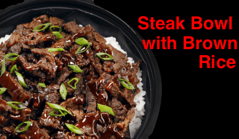 Waba-Steak bowl with brown rice